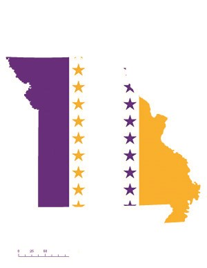 State of Missouri depicted in purple, white, and gold (colors of the National Woman's Party suffrage flag) – indicating Missouri was one of the original 36 states to ratify the 19th Amendment. Courtesy Megan Springate.