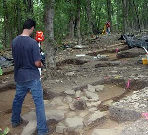 NPS archeologists work at the site of Monocacy's Middle Ford Ferry Tavern.