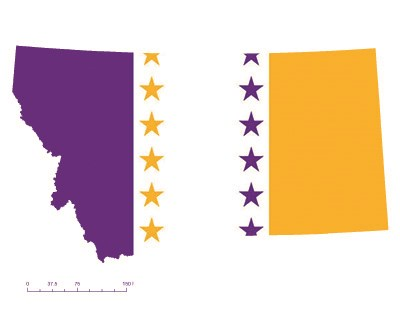 State of Montana depicted in purple, white, and gold (colors of the National Woman's Party suffrage flag) – indicating Montana was one of the original 36 states to ratify the 19th Amendment. Courtesy Megan Springate.