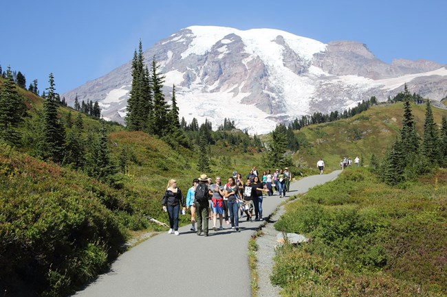 A park ranger leading a group of students in Mount Rainier NP