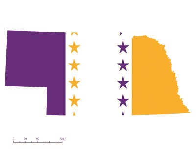 State of Nebraska depicted in purple, white, and gold (colors of the National Woman's Party suffrage flag) – indicating Nebraska was one of the original 36 states to ratify the 19th Amendment. Courtesy Megan Springate.