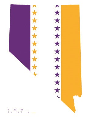 State of Nevada depicted in purple, white, and gold (colors of the National Woman's Party suffrage flag) – indicating Nevada was one of the original 36 states to ratify the 19th Amendment. Courtesy Megan Springate.