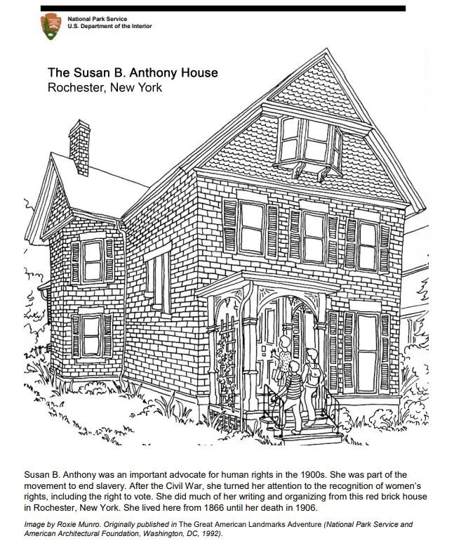 Coloring Page Susan B Anthony House Us National Park