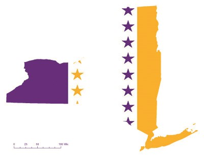 State of New York depicted in purple, white, and gold (colors of the National Woman's Party suffrage flag) – indicating New York was one of the original 36 states to ratify the 19th Amendment. Courtesy Megan Springate.