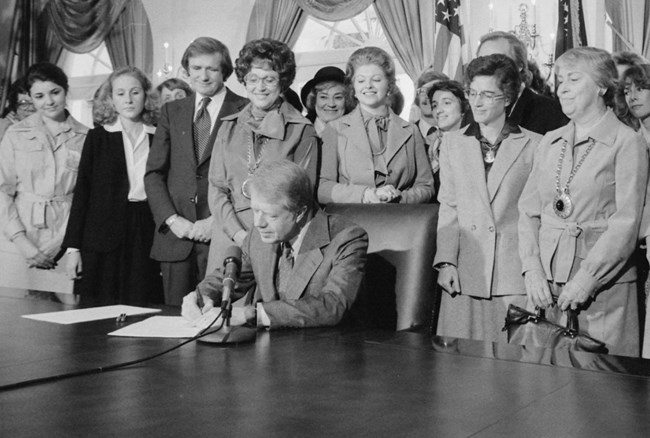 Jimmy Carter signing extension of Equal Rights Amendment (ERA) in 1978, Courtesy of NARA