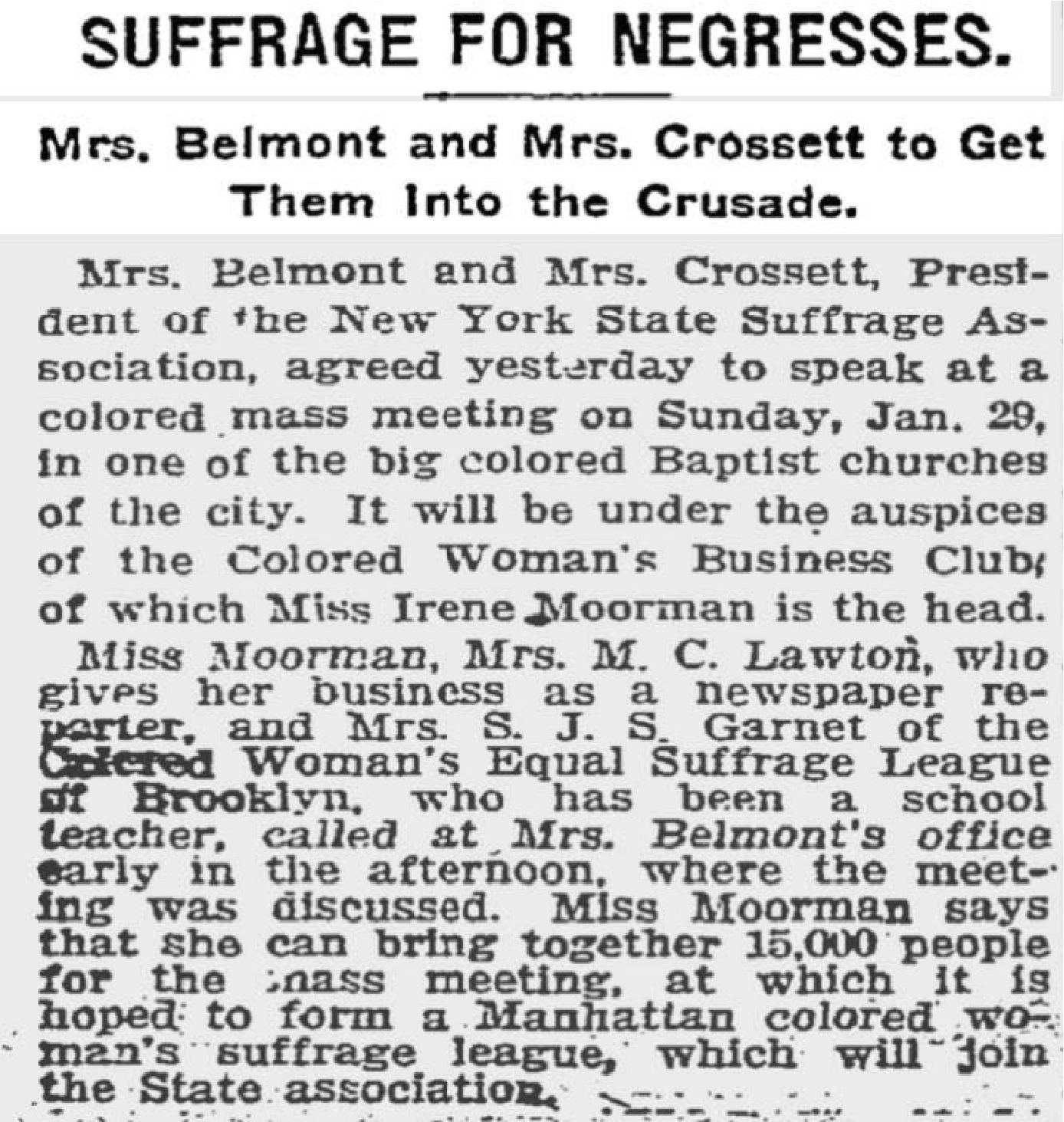 Newspaper article published by the New York Times, January 19, 1910.  Courtesy of the New York State Women's Suffrage Exhibition Collection. https://cdm16694.contentdm.oclc.org/digital/collection/p16694coll52/id/672