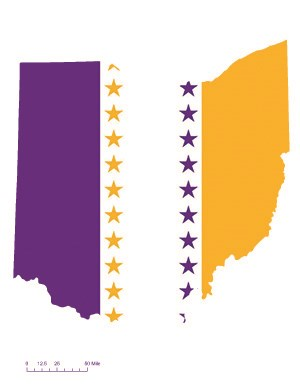 State of Ohio depicted in purple, white, and gold (colors of the National Woman's Party suffrage flag) – indicating Ohio was one of the original 36 states to ratify the 19th Amendment. Courtesy Megan Springate.