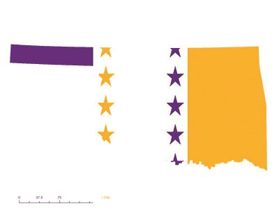 State of Oklahoma depicted in purple, white, and gold (colors of the National Woman's Party suffrage flag) – indicating Oklahoma was one of the original 36 states to ratify the 19th Amendment. Courtesy Megan Springate.