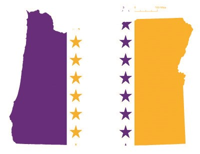 State of Oregon depicted in purple, white, and gold (colors of the National Woman's Party suffrage flag) – indicating Oregon was one of the original 36 states to ratify the 19th Amendment. Courtesy Megan Springate.