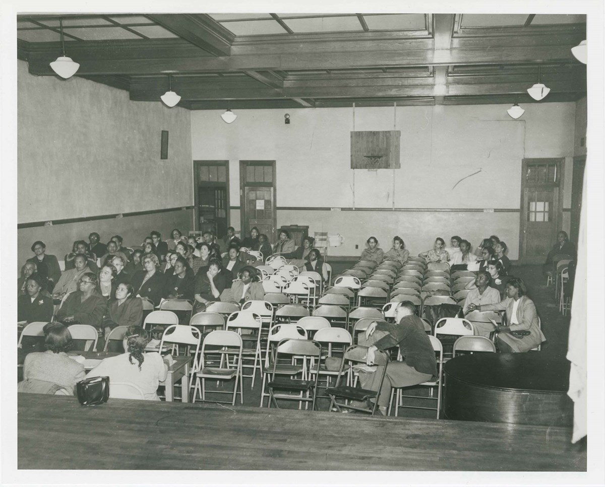 Auditorium at Robert Russa Moton High School, Farmville , Virginia with students sitting in seats. Courtesy National Archives.