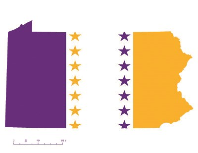 State of Pennsylvania depicted in purple, white, and gold (colors of the National Woman's Party suffrage flag) – indicating Pennsylvania was one of the original 36 states to ratify the 19th Amendment. Courtesy Megan Springate.