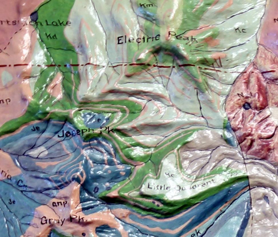 Figure 1. A detail of the Electric Peak area on the Yellowstone National Park and Absaroka Range (1897) relief model by Edwin Howell. This historically significant model was installed at the old Information Center and the Norris Museum