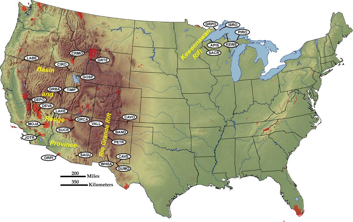 map of us with parks in rift zones marked and labeled