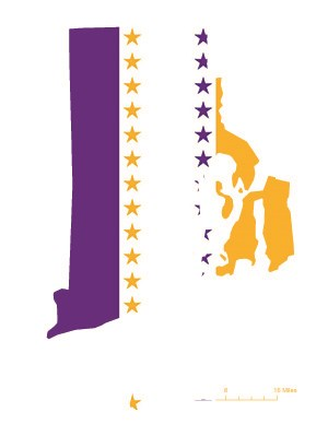 State of Rhode Island depicted in purple, white, and gold (colors of the National Woman's Party suffrage flag) – indicating Rhode Island was one of the original 36 states to ratify the 19th Amendment. Courtesy Megan Springate.