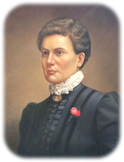 Head and shoulders painting of Marilla Marks Ricker facing right