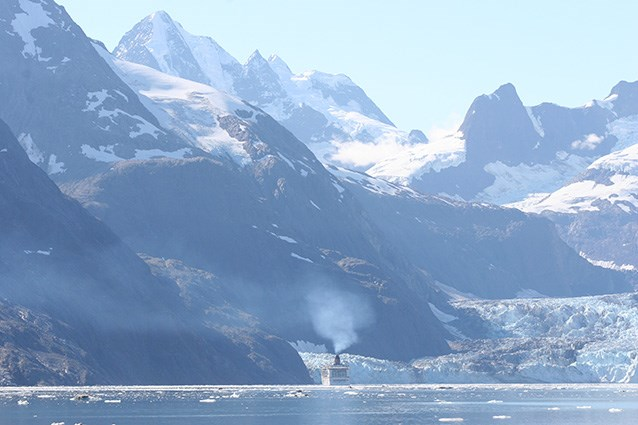 A large cruise ship in the upper fjords of Glacier Bay National Park