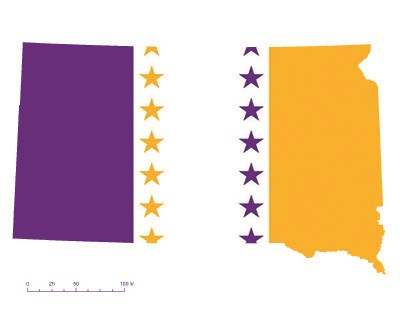 State of South Dakota depicted in purple, white, and gold (colors of the National Woman's Party suffrage flag) – indicating South Dakota was one of the original 36 states to ratify the 19th Amendment. Courtesy Megan Springate.