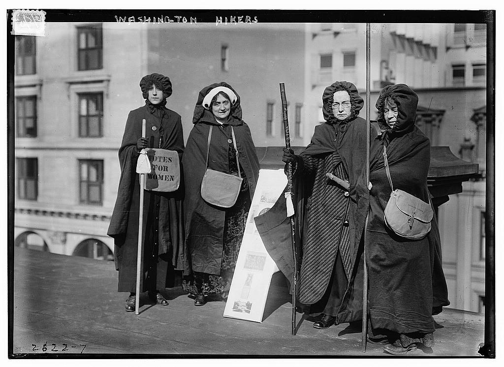 Suffrage hikers who took part in the suffrage hike from New York City to Washington, D.C. which joined the March 3, 1913 National American Woman Suffrage Association parade. Library of Congress, Lot 11052, https://www.loc.gov/item/2014692437/