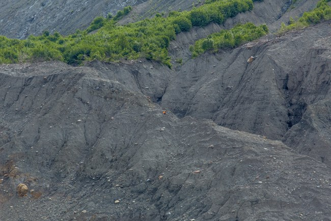 A geologist is barely visible among the rubble of the landslide