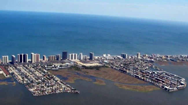 Aerial view of Ocean City, Maryland, with the sea at its doorstep