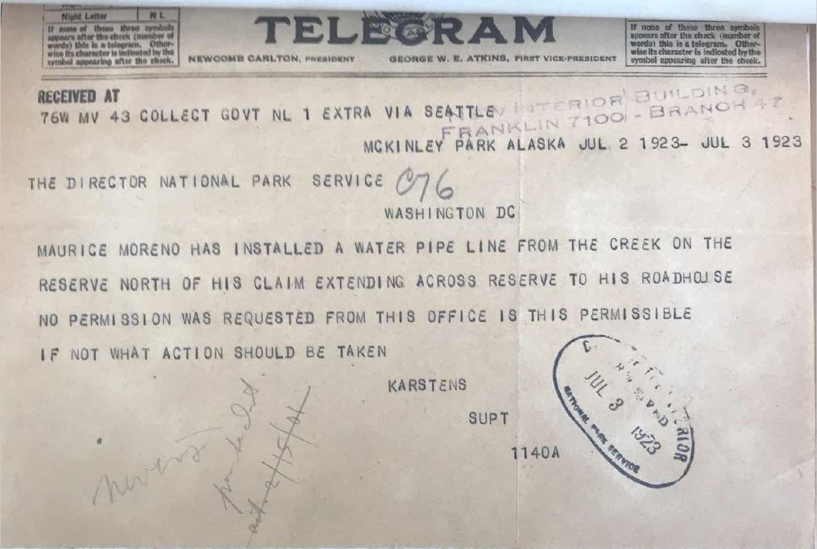 photo of a faded yellow telegram