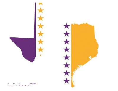 State of Texas depicted in purple, white, and gold (colors of the National Woman's Party suffrage flag) – indicating Texas was one of the original 36 states to ratify the 19th Amendment. Courtesy Megan Springate.
