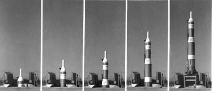 Series of images showing a missile rising out of the ground