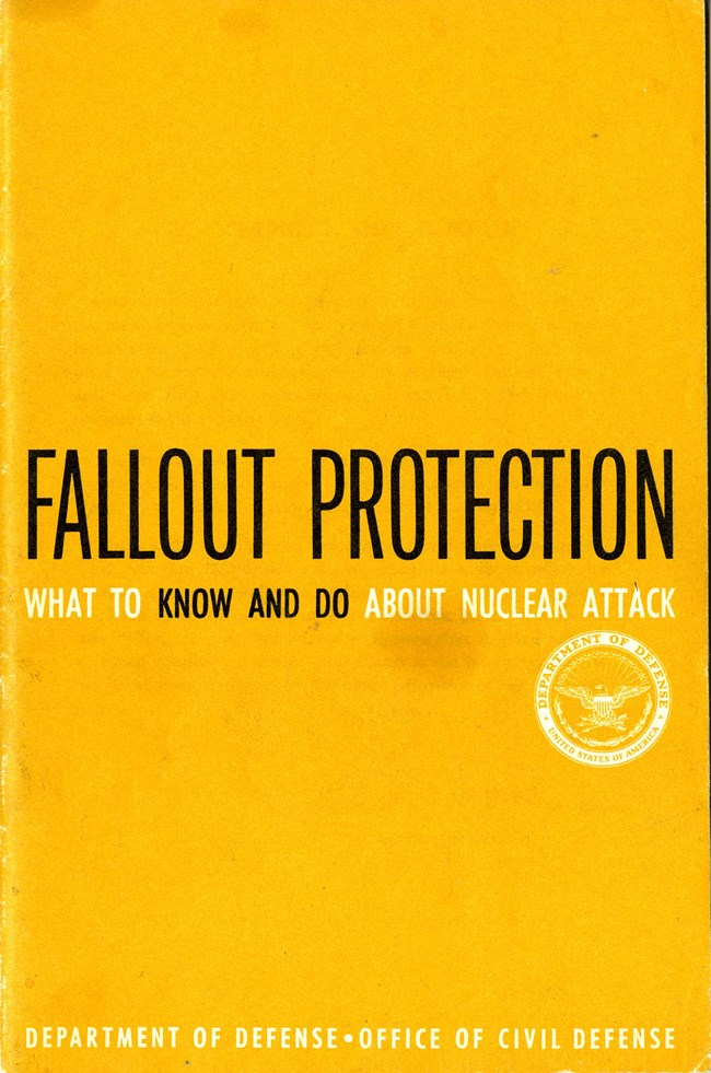 "Yellow booklet cover with title ""Fallout Protection"""