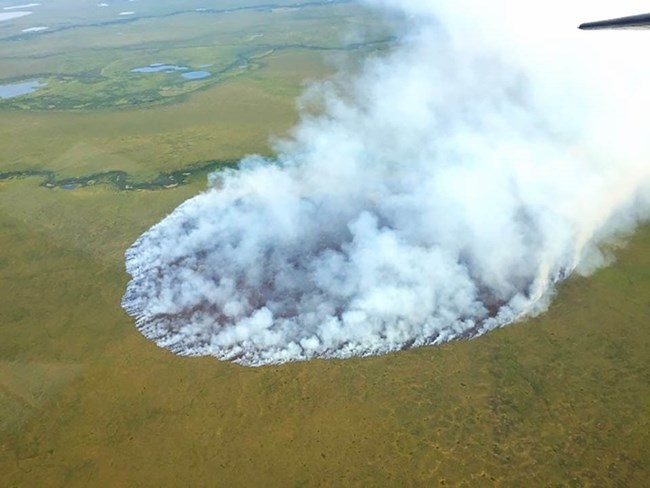 A fire burning in the Arctic tundra, Noatak National Preserve.