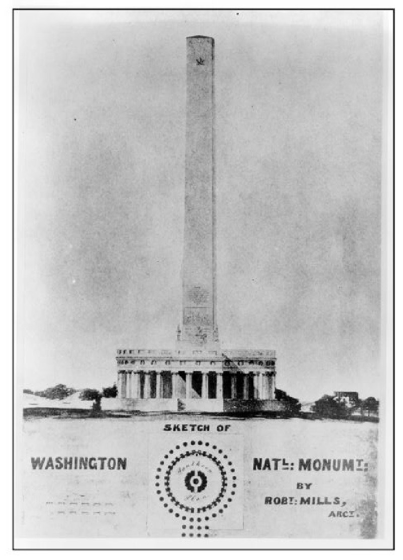 Drawing of an unfinished Washington Monument.