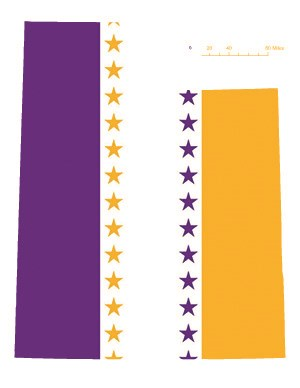 State of Utah depicted in purple, white, and gold (colors of the National Woman's Party suffrage flag) – indicating Utah was one of the original 36 states to ratify the 19th Amendment. Courtesy Megan Springate.