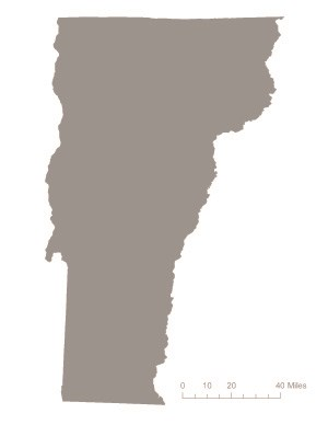 State of Vermont in gray – indicating it was not one of the original 36 states to ratify the 19th Amendment. Courtesy Megan Springate.