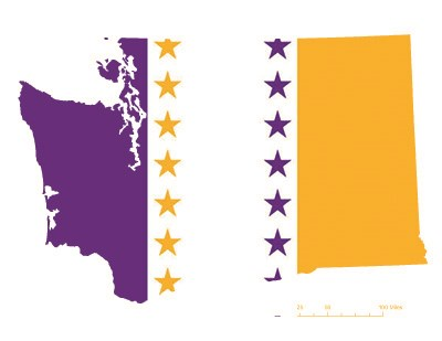 State of Washington depicted in purple, white, and gold (colors of the National Woman's Party suffrage flag) – indicating Washington was one of the original 36 states to ratify the 19th Amendment. Courtesy Megan Springate.