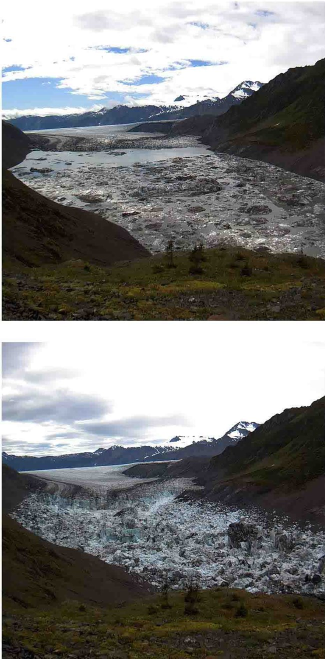 A before and after comparison of a glacier-dammed lake full and empty.