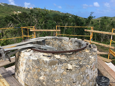 steel band collar at the tower top silo.