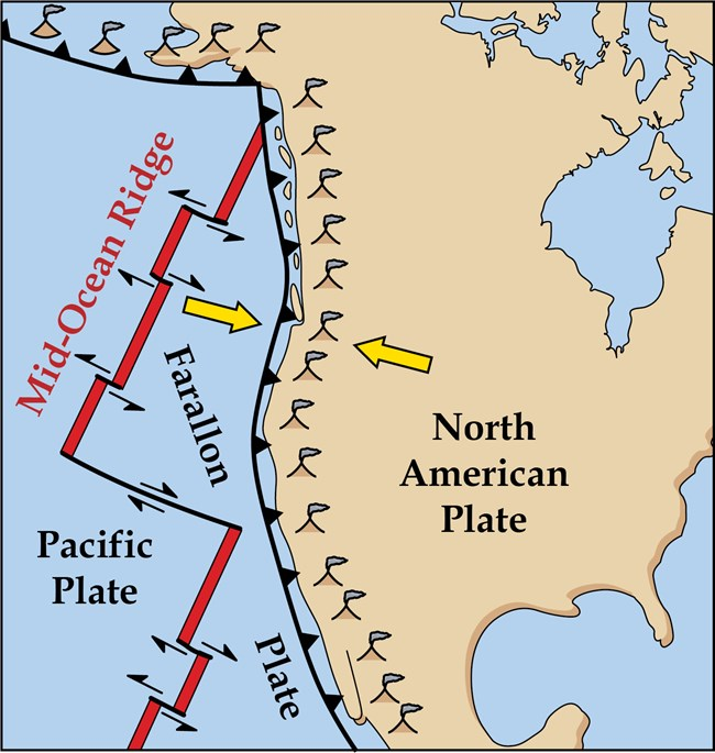 map illustration showing west coast of north america and tectonic plates