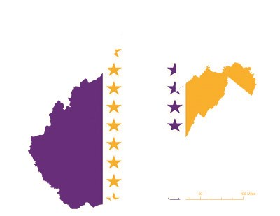 State of West Virginia depicted in purple, white, and gold (colors of the National Woman's Party suffrage flag) – indicating West Virginia was one of the original 36 states to ratify the 19th Amendment. Courtesy Megan Springate.