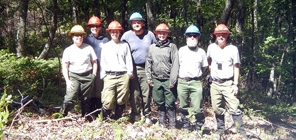 A group of happy fire effects crew members in hardhats stands in front of a forest.