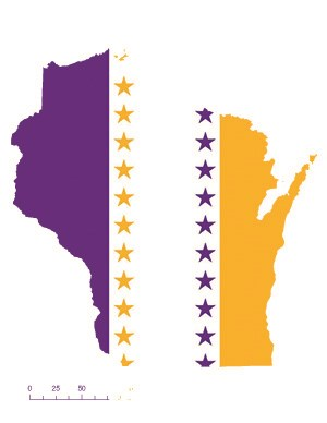 State of Wisconsin depicted in purple, white, and gold (colors of the National Woman's Party suffrage flag) – indicating Wisconsin was one of the original 36 states to ratify the 19th Amendment. Courtesy Megan Springate.