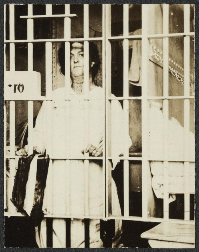 "Helena Hill Weed of Connecticut serving a 3 day sentence in a D.C. prison for carrying banner reading, ""Governments derive their just powers from the consent of the governed."" (July, 1917) Library of Congress, Records of the National Woman's Party https:/"