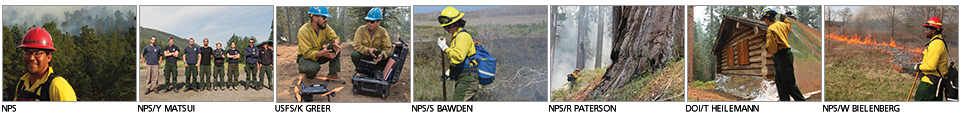 A series of images of firefighters in the national parks.
