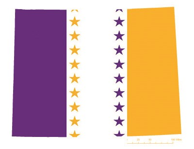 State of Wyoming depicted in purple, white, and gold (colors of the National Woman's Party suffrage flag) – indicating Wyoming was one of the original 36 states to ratify the 19th Amendment. Courtesy Megan Springate.