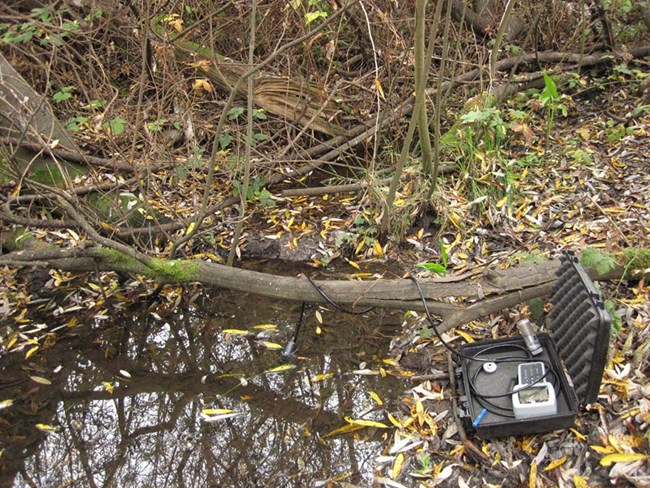 Water quality equipment at monitoring site in Tennessee Hollow's east tributary.