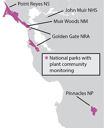 Map showing that plant community surveys occur in PINN, PORE, GOGA, MUWO, and John Muir NHS.