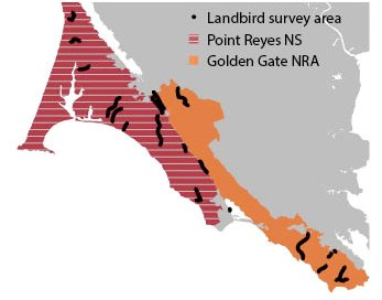 map showing that landbird monitoring surveys occur in the GGNRA and PORE