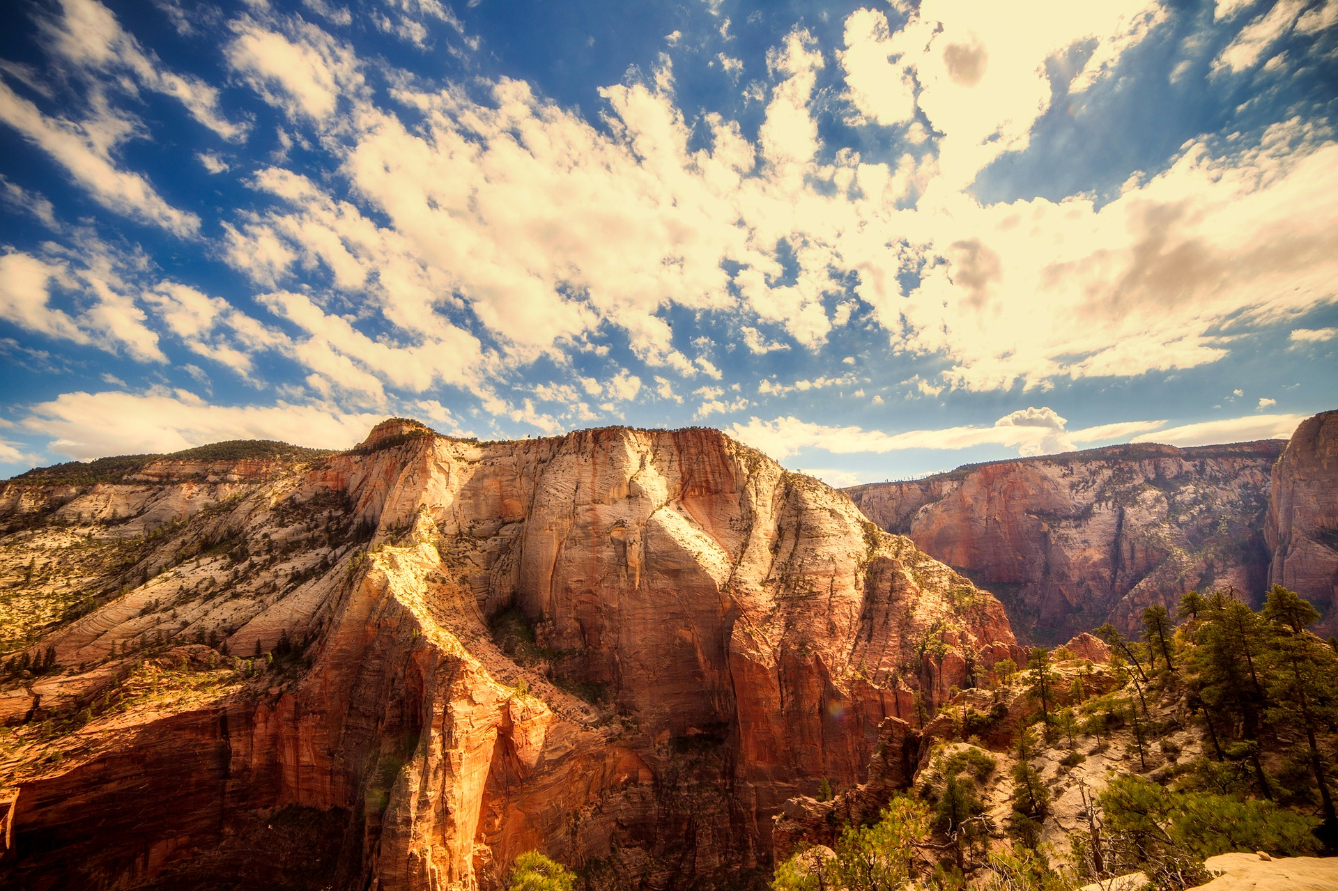 Clouds over sandstone cliffs in Zion NP