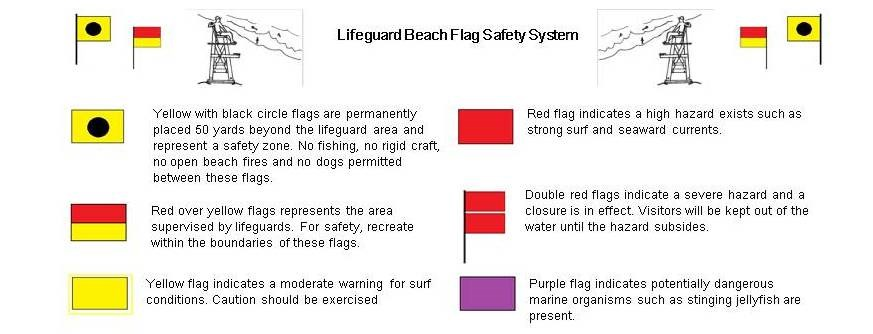 Lifeguarded Beach Flag Safety System Flags Indicated Protected Beach Area Lifeguarded Beach And