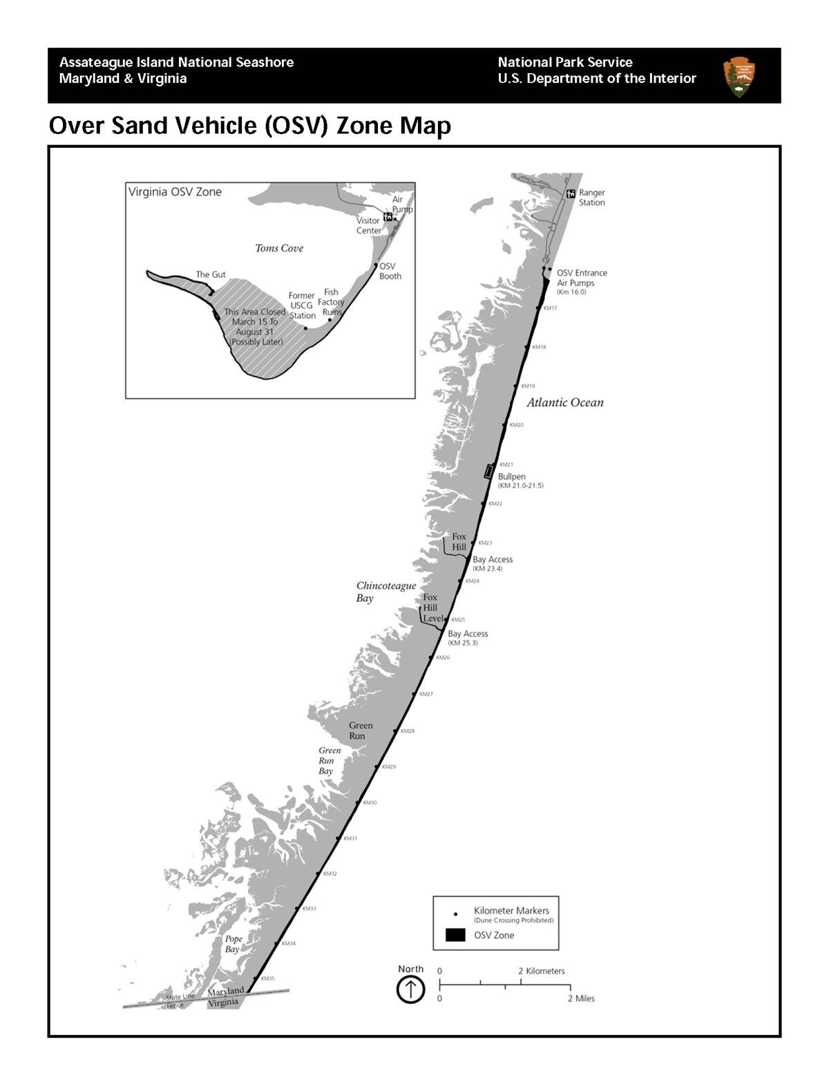 Map showing Over Sand Vehicle Zones (OSV) in Maryland and Virginia