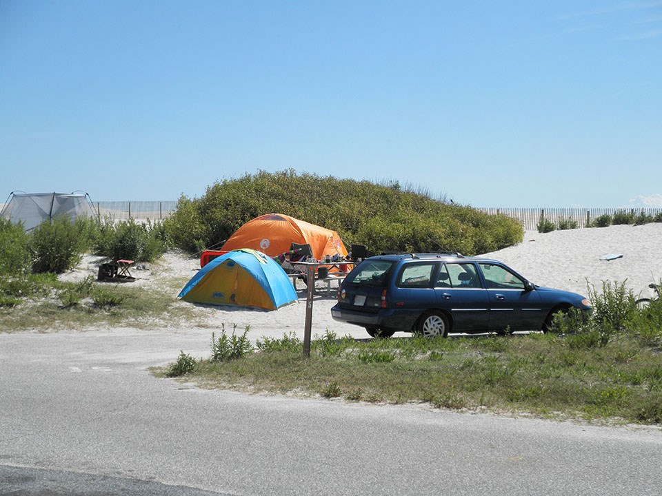 photo of tents and vehicle in Oceanside Campground