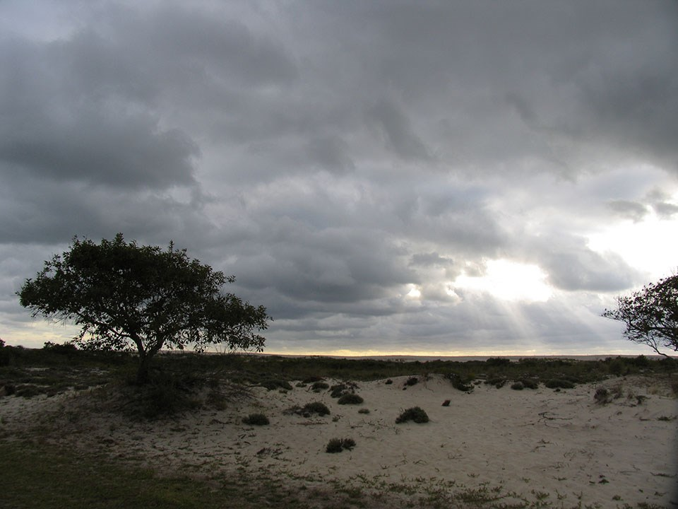photo of storm clouds over dunes